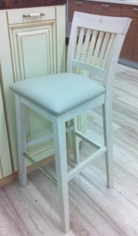 Барный стул Райнес белый в кожзаме